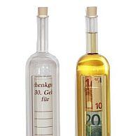Glasflasche für Geld oder Gutschein